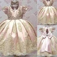Newest Short Sleeves Flower Girl Dresses Big Bow Toddler Gold Applique Kids Communion Dress Birthday Party Pageant Gown BA9989