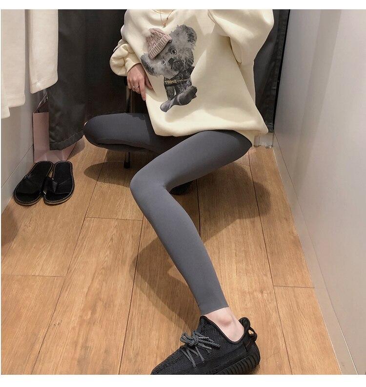 H110923a354a243b6b75a1726fd541da5A BIVIGAOS New 3-Color Sharkskin Leggings Women Spring Summer Thin Skinny Legs Fitness Leggings Pressure Elastic Sport Leggings