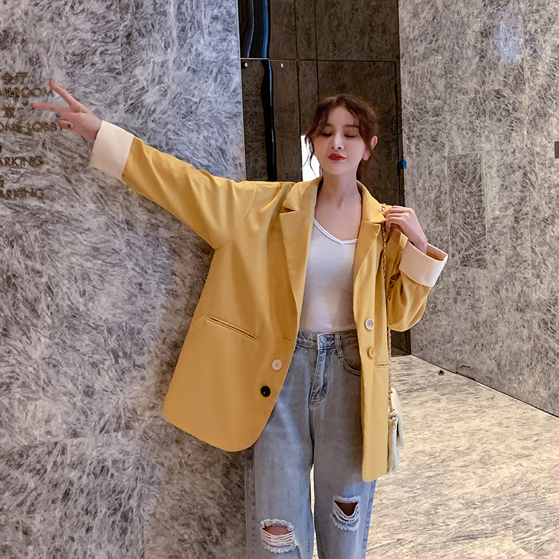 Retro Casual Ladies Blazer Yellow Loose Simple Suit Jacket Long Sleeve Blazer Paillette Stylish Korean Women Blazer New MM60NXZ