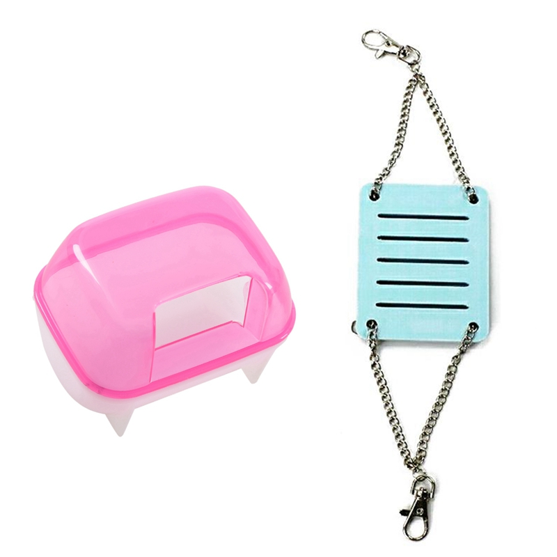 2 Pcs Hamster Toys: 1 Pcs Pink White Small Hamster Bathing Sand Cage Pet Bathroom & 1 Pcs Hamster Toys Swing Hanging Gadget Wood