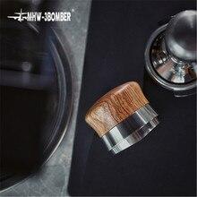 58.35mm ajustável café tamper rosewood lidar com pó martelo de aço inoxidável ventilador-em forma de base distribuidor de café acessório
