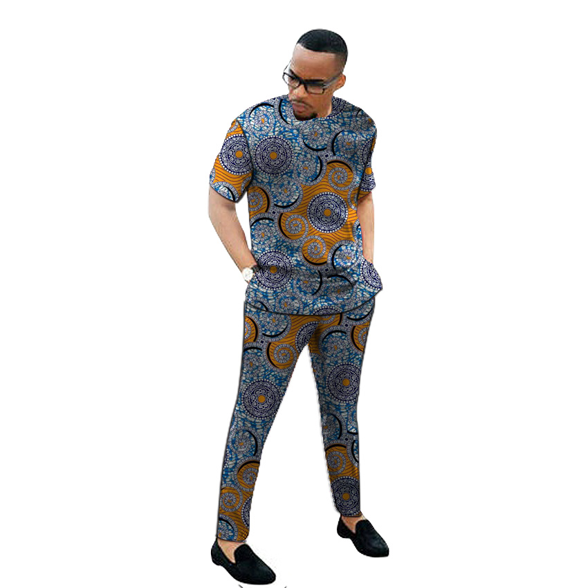 African Print Men's Set Clothing Kente Tops Matching Trousers 2 Pieces Ankara Outfits Shirt+pant Custom Made Man Groom Suits