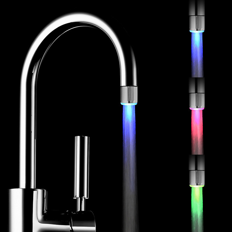 7 Colors Luminous Light-up LED Water Faucet Shower Tap  Temperature Sensor Smart Kitchen Bathroom Colorful Changing Glow Nozzle