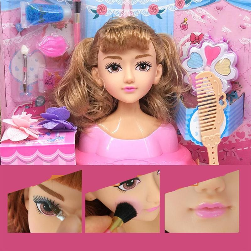 Fashion Makeup Doll Toys Half Body Dressing Hairstyle Girl Pretend Play House Set Girls Learning Dress Up Makeup Toy