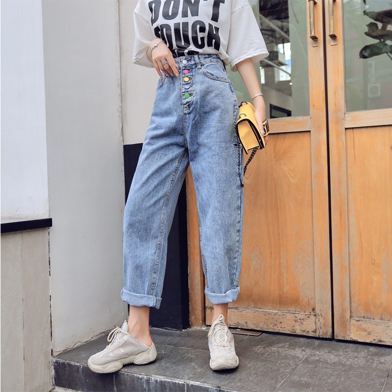 With Holes Jeans WOMEN'S Ninth Pants High-waisted Versatile Loose Harem Pants New Style Candy-Colored Buckle Pants Fashion