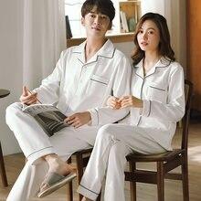 Зимние пижамы для пар 100% хлопок спальная одежда женщин и мужчин