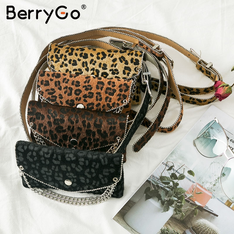 BerryGO Leopard Print Fanny Pack Women Chain Waist Cummerbunds Belt Waist Bag Small Phone Pouch Bum Bag Waist Pack Heupt