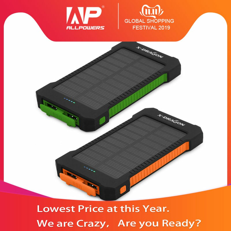 New Arrival 10000mAh Solar Power Bank Charger Portable Outdoors Emergency External Battery for Cellphone, Free Shipping.