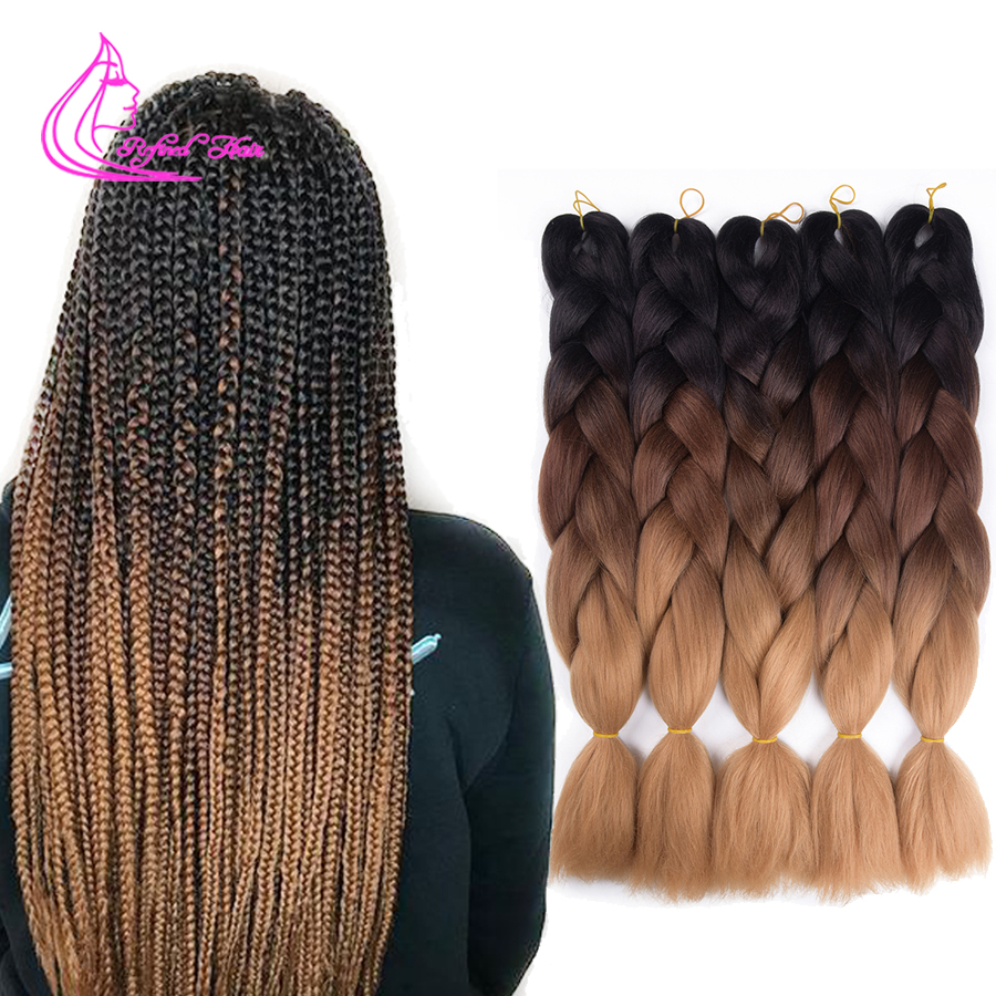 Refined Hair 24Inch Jumbo Box Braids Crochet Braid Hair 100Colors Ombre Synthetic Expression Braiding Hair Extensions