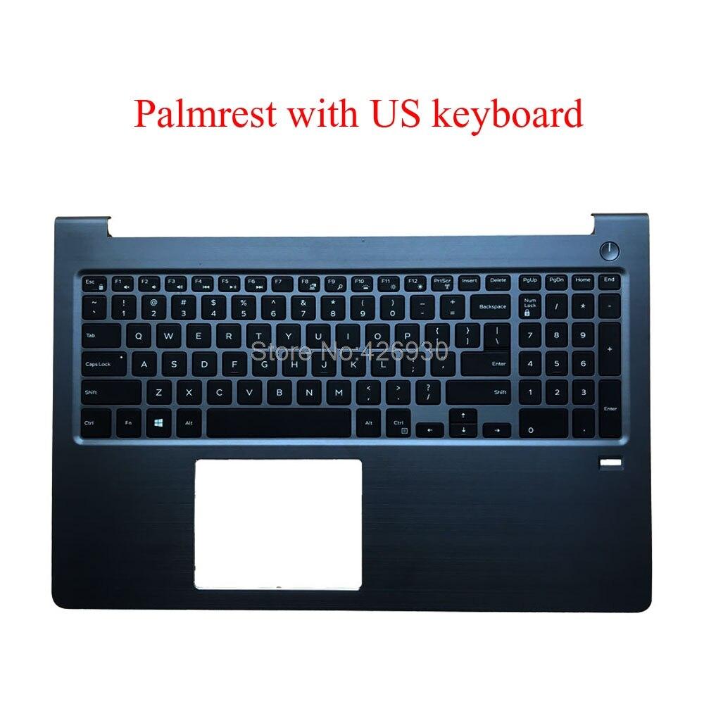Laptop Palmrest For DELL For Vostro 15 5568 P62F 0FCN57 FCN57 0HJP49 HJP49 With Backlit US English Keyboard Upper Case Used