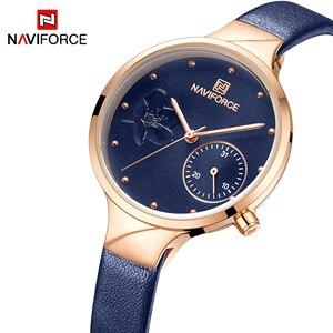 Image 1 - Naviforce 女性ファッションブルークォーツ時計女性レザー腕時計高品質カジュアル防水腕時計ギフト妻 2019