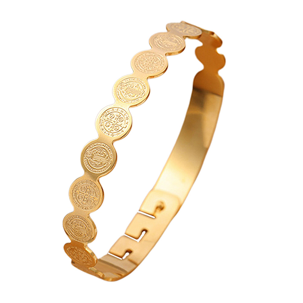 1pc Bracelet Delicate Creative Stainless Steel Durable Bangle Wristband Adjustable Jesus Jewelry Decor for Man