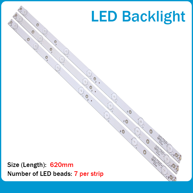 New Kit 3 PCS 7LED(3V) 620mm LED Backlight Strip For 32PFT4131 32PHH4101 GJ-2K16 D2P5-315 D307-V2 01N19 01N18