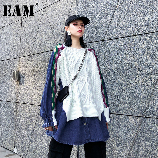 [EAM] ผู้หญิงถักแยกขนาดใหญ่Denimเสื้อใหม่แขนยาวหลวมFitเสื้อแฟชั่นฤดูใบไม้ผลิฤดูใบไม้ร่วง2020 1K218