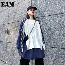 [Eam] 女性ニット分割ビッグサイズデニムブラウス新ラペル長袖ルーズフィットシャツファッション潮春秋2020 1K218