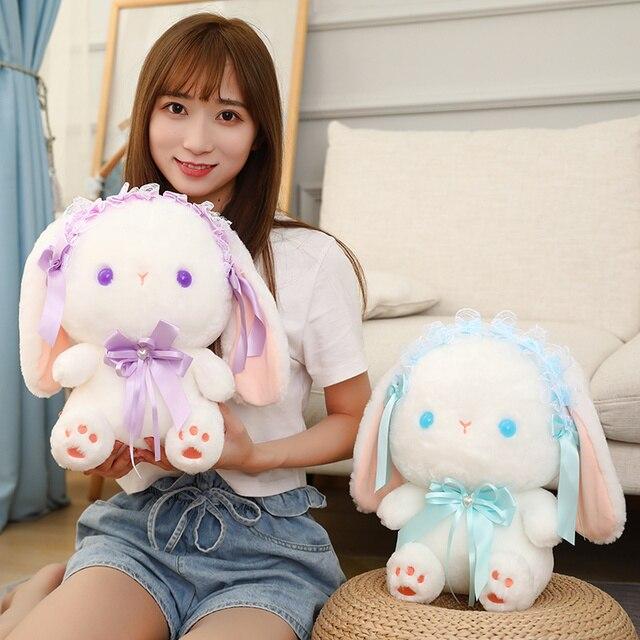 23/35cm Lolita Baby Lop Plushie White Bunny Cute Cartoon Rabbit Sitting Doll Satin Dressed Cute Animal Girls Girlfriend Present 2