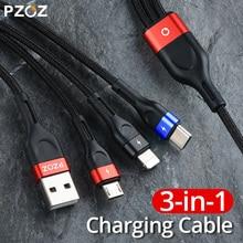PZOZ 3 в 1 USB кабель Micro USB C адаптер для быстрой зарядки Microusb type-C телефон кабель для зарядного устройства Тип C для iPhone 11 pro X Max Xr 7 6s plus samsung S10 s9 Xiaomi mi 9 redmi note 7 8 шнур