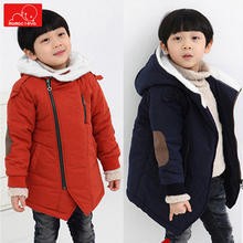 boys autumn winter hooded jacket warm children outerwear clothing kids Plush overcoat clothes for child недорого