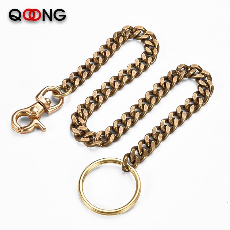 39cm Long Solid Pure Brass Trouser Jean Wallet Chain Keychain For Motorcycle Biker Trucker Apparel Matching Jewellery Shellhard