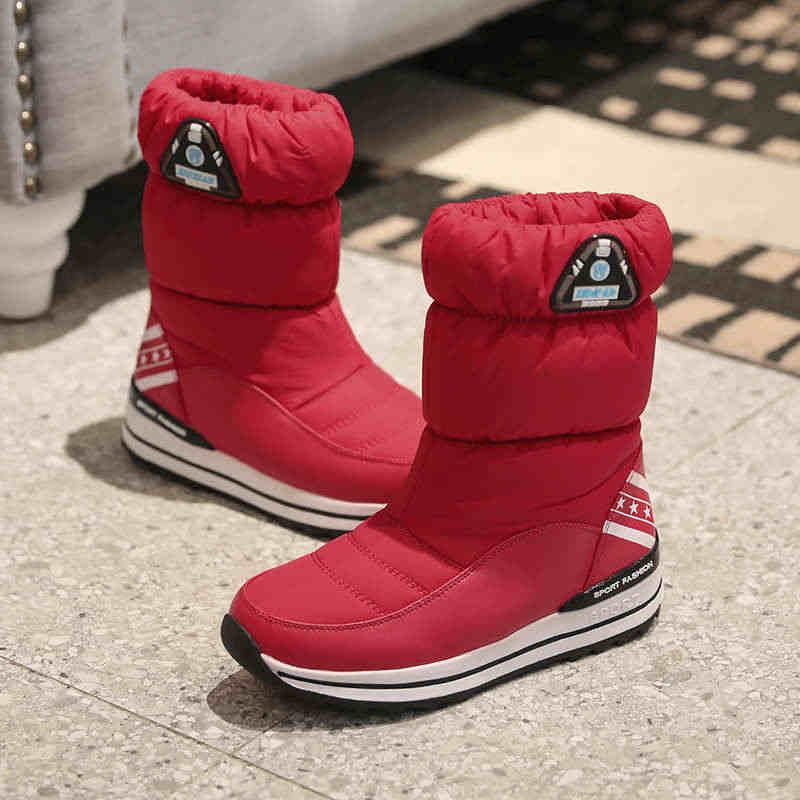 Odetina Yeni Kadın Aşağı Pamuk Yuvarlak Ayak Kayma Kar Botları Bayanlar Platformu Düz kaymaz Kalın Kürk yarım çizmeler kış Sıcak Tutmak