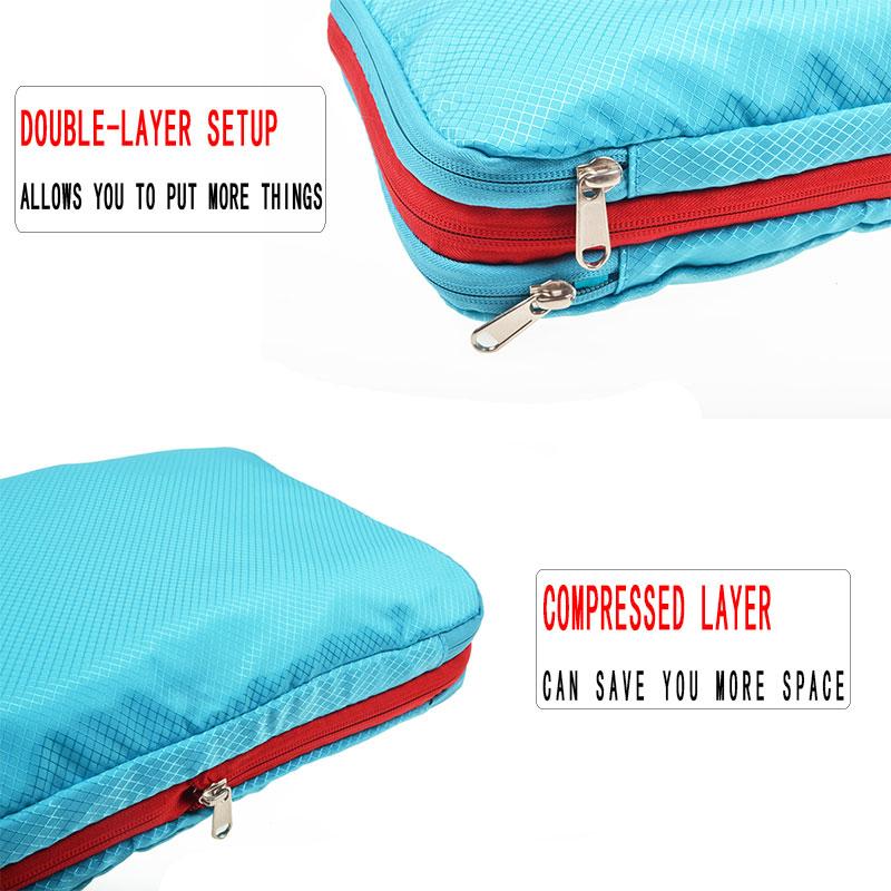 Men Women Blue Nylon Travel Bag Waterproof Large Capacity Foldable Travel Bag Organizer Compression Packing Cubes Waterproof