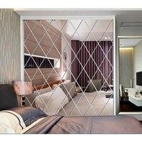 Алмазные зеркальные настенные наклейки 3D DIY самоклеящиеся наклейки для гостиной, спальни, Декор, акриловая наклейка, художественная зеркал...