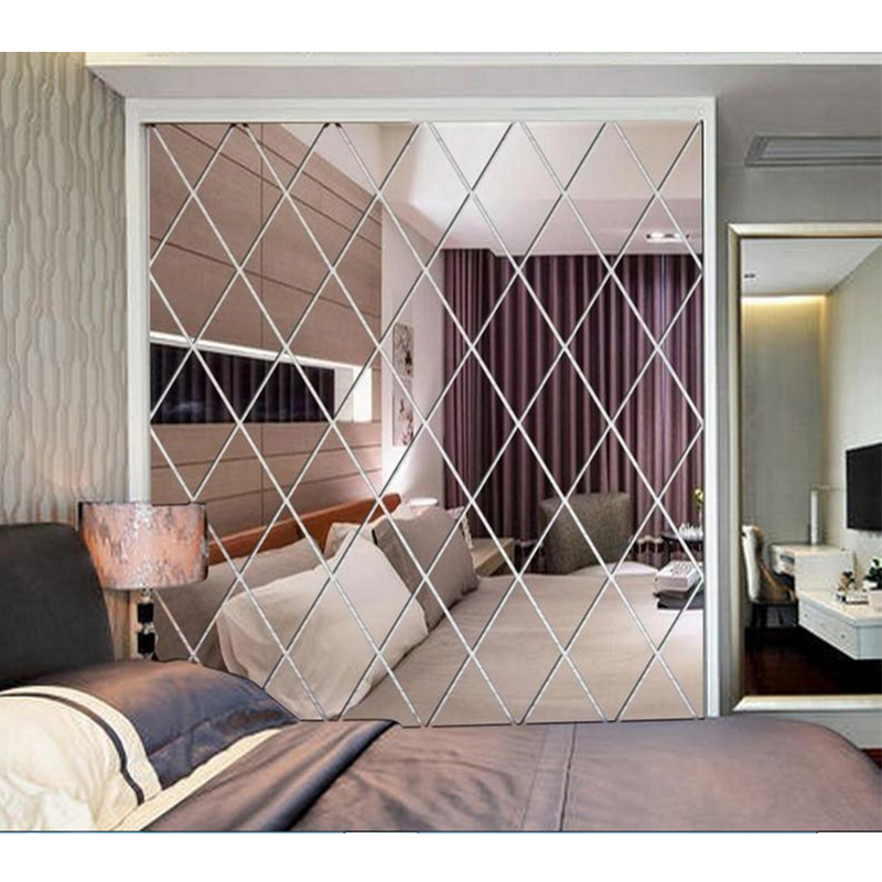 Diamond Mirror Wall Stickers 3D DIY Self-adhesive Stickers Living Room Bedroom Decor Acrylic Decal Art Mirror Wall Film Tiles