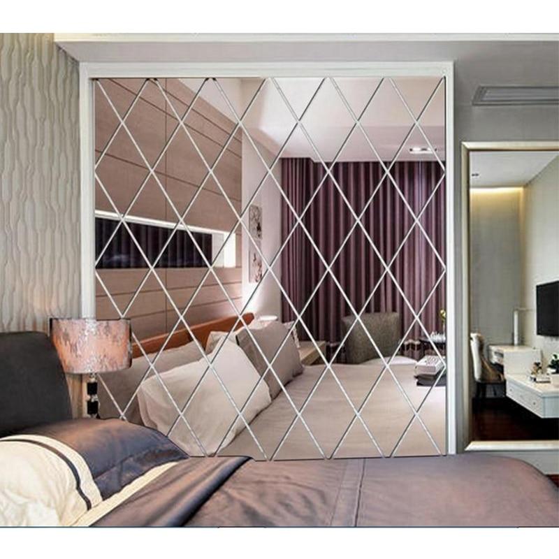 Diamond Mirror Wall Stickers 3D DIY Self-adhesive Stickers Living Room Bedroom Decor Acrylic Decal Art Mirror Wall Film Tiles