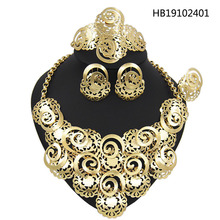 Yulaili 2019 New Fashion Zinc Alloy Necklace Earring Ring Bracelet African Women Gift Nigerian Bridal Wedding Jewelry Sets yulaili free shipping high quality fashion star design zinc alloy ladies four pieces jewelry sets