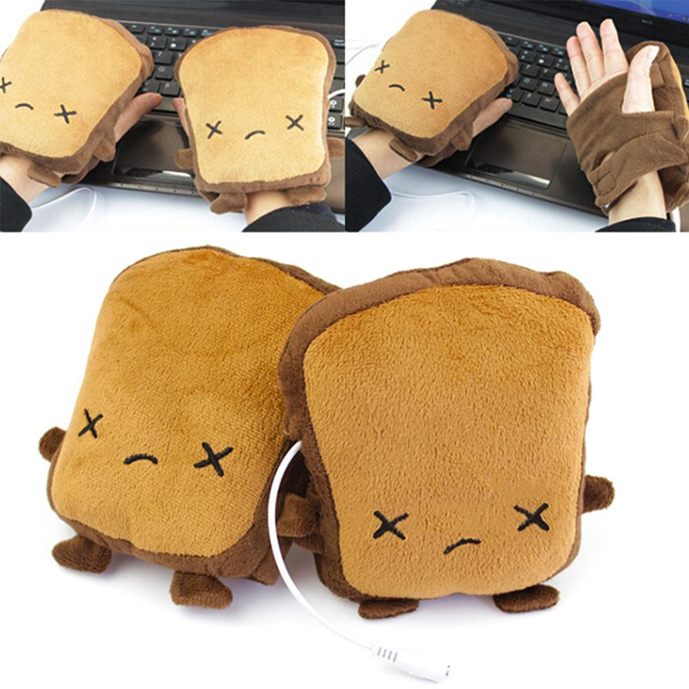 USB Bread Shaped Hand Warmer Gloves Heating Half Finger Winter Warm Glove