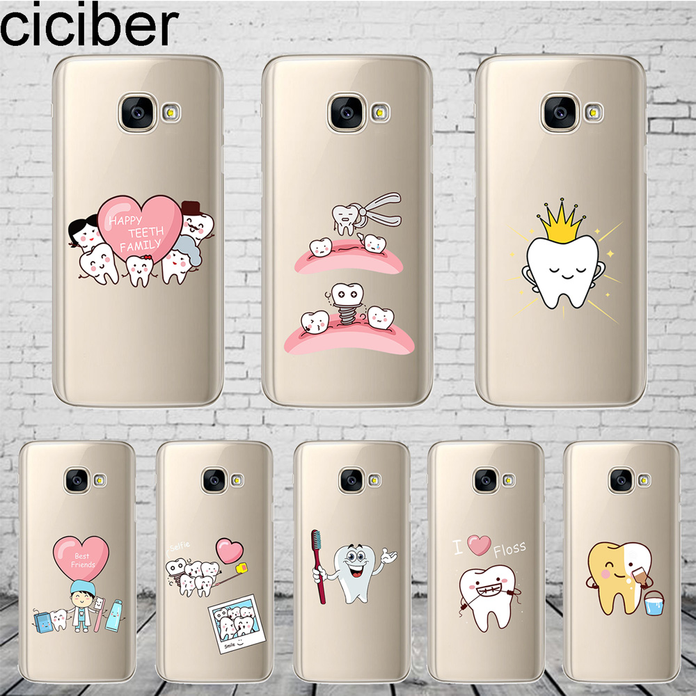 ciciber <font><b>Cartoon</b></font> Tooth Cover For <font><b>Samsung</b></font> Galaxy A8 A7 <font><b>A5</b></font> A6 A9 A3 2018 2017 <font><b>2016</b></font> A6S Plus Star <font><b>Phone</b></font> <font><b>Case</b></font> Soft TPU Shell Coque image