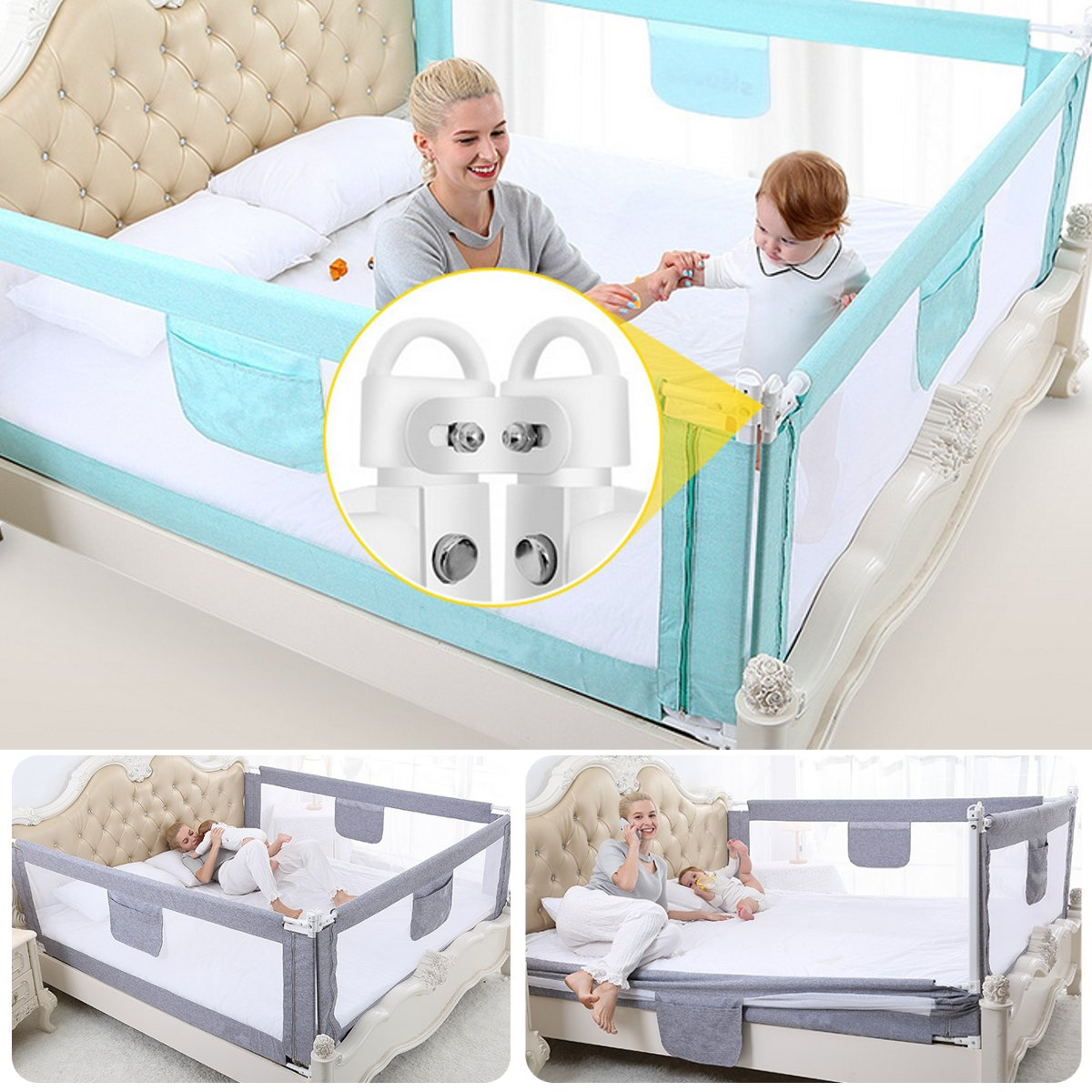 2M Baby Bed Fence for Child Safety used as Baby Gate from Falling Accidentally while Sleeping or Playing 19