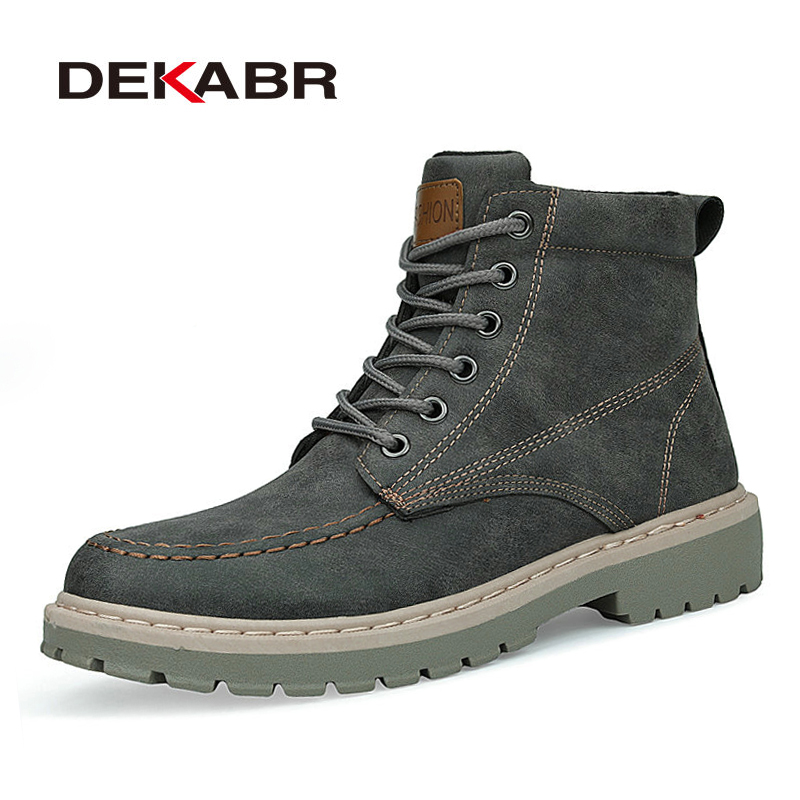 DEKABR Winter New Men PU Leather Ankle Snow Boots Anti-Skidding Motorcycle Warm Boots 2020 High Quality Fashion Autumn Shoes