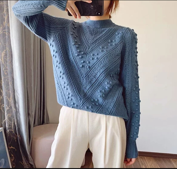 Autumn Women's Knitted Sweater Hollow Out O-neck Long Sleeve Knitwear Vintage Solid Color Casual Pullover Top