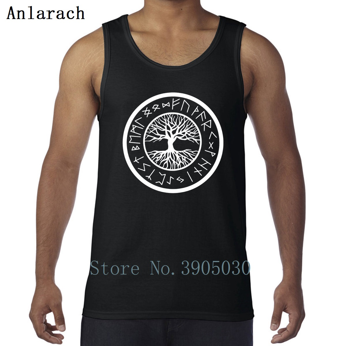 Viking Yggdrasil Tree Of Life With Norse Rune Vests Anti-Wrinkle Customized Cute Tank Tops Men 100% Cotton Summer Singlets