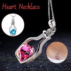 JAYCOSIN FLove Heart Necklace Women Girls Charm Pendant with Crystals Jewelry Gifts For Women Sweater Patry Necklace  19DEC25