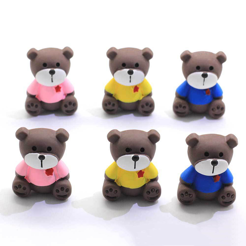 Boxi 10pcs Resin Cartoon Bear Slime Additives Charms Cute DIY Kit Supplies Accessories Filler For Fluffy Cloud Clear Slime Clay