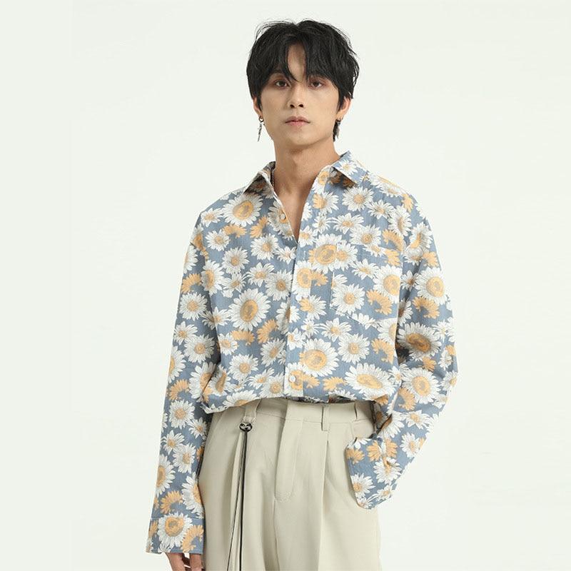 Men Spring Chrysanthemum Pattern Casual Long Sleeve Shirts Korea Japan Style Male Vintage Fashion Loose Dress Shirt