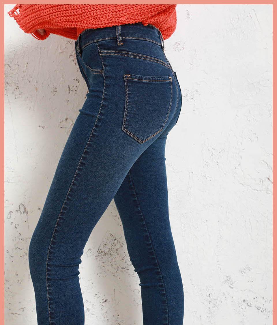 Autumn Winter Women Denim Skinny Pants Super Stretch Fake Front Pocket Waist Blue Grey Black White Slim Elastic Lady Jeans 18