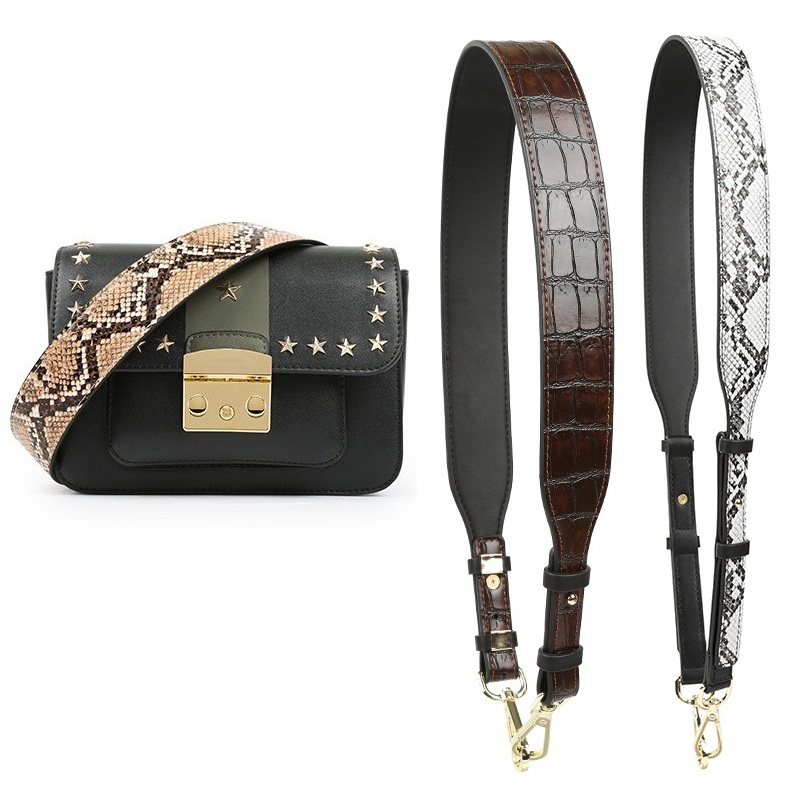 NIGEDU Bag Strap Accessories For Bags Crocodile Pattern Belt Shoulder Strap Famous Brand Woman Straps Snake