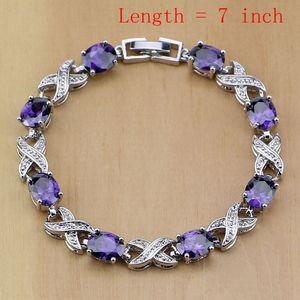 Image 2 - 925 Sterling Silver Bridal Jewelry Purple Zircon White CZ Jewelry Sets For Women Earrings/Pendant/Necklace/Rings/Bracelet