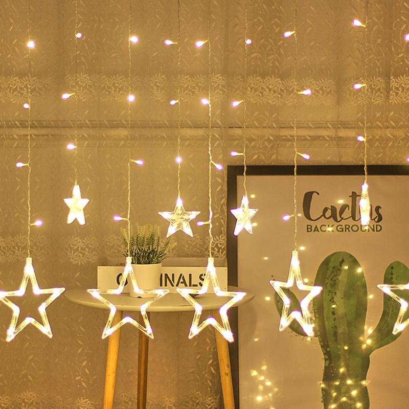 2.5M Festoon Window Curtain Fairy Lights String Star Lamp Christmas Lights Pentagram Garland Lamp Party Wedding Decoration Lamp
