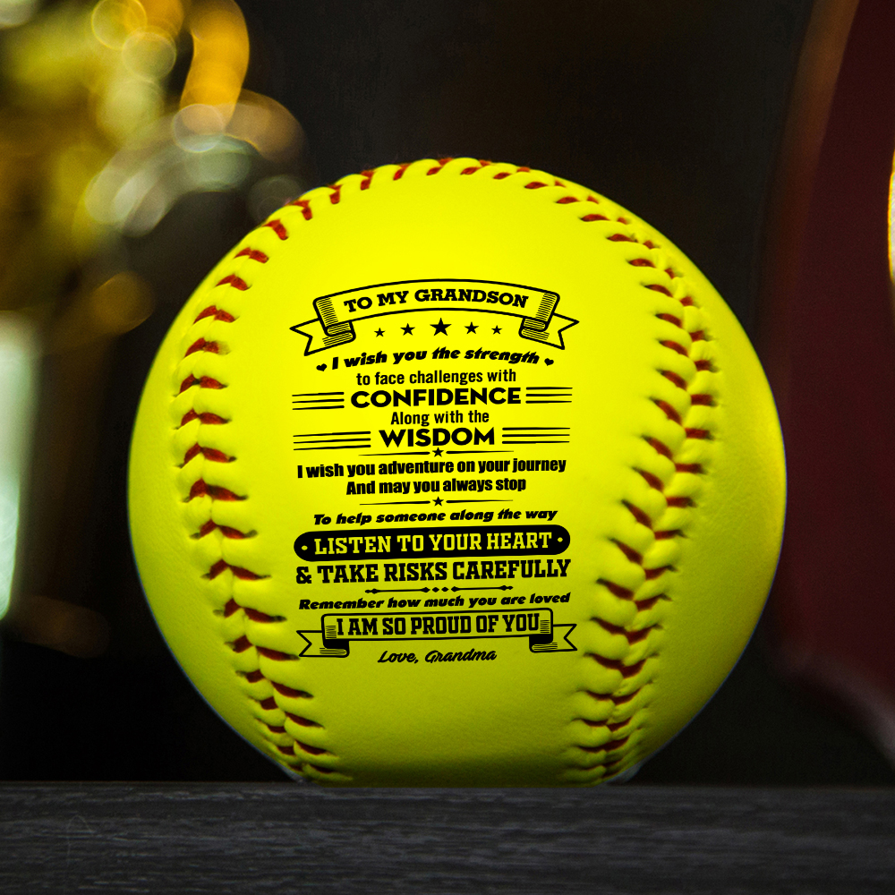 Grandma To Grandson with a meaningful message printed on the ball softball Birthday Graduation Christmas Gift.