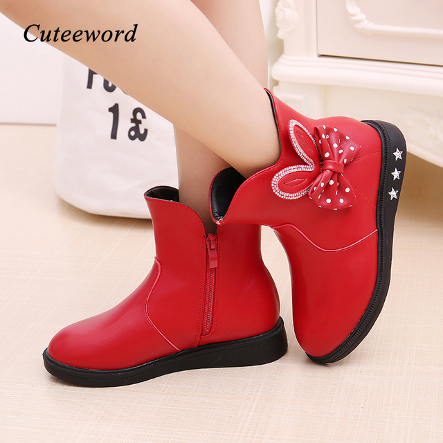 Childrens Shoes Girls Boots Autumn and Winter 2019 New Princess Boots Bow Plus Velvet Warm Cotton Kids Snow Boots Girls Shoes