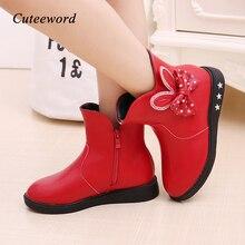 Zapatos para niños botas para niñas Otoño e Invierno 2019 nuevas botas de princesa arco más terciopelo cálido algodón niños botas de nieve zapatos para niñas