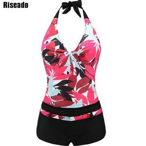Image 1 - Riseado Sexy Swimwear Women New Tankini Two piece Swimsuit Halter Push Up Leaf Print Bathing Suits Plus Size Swimwear XXXL