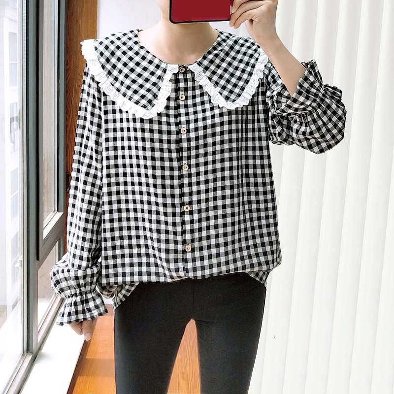 Spring/Autumn Oversize Women Shirt 2021 Fashion Casual Clothes Loose Long Sleeve Tops Cute Peter Pan Collar Plaid Blouse