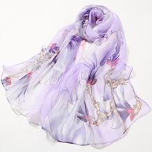 Осенний шелковый шарф для женщин, цветочный принт лотоса, Длинный мягкий шарф, шарф для женщин, шаль, сетчатый палантин, платок FA