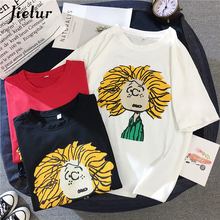 Jielur 2019 Summer Cotton Graphic t shirt Women Korean Harajuku Cute Cartoon Basic Female T-shirts Loose Short Sleeve Top M-XXL