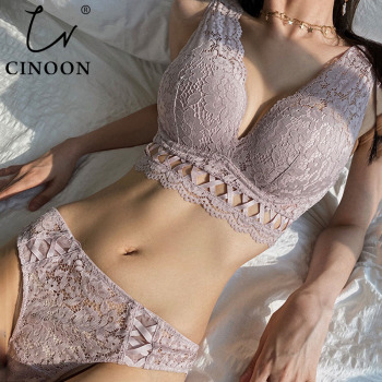 CINOON New Sexy Bandage Underwear Set Push up Bra Set Embroidery Women Lingerie High Quality Lingerie Set 3/4 Cup Lace Brassiere